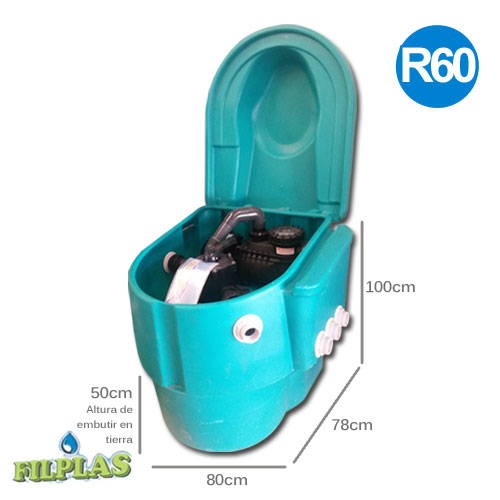 Gabinete + Bomba Vulcano 3/4HP 60M3 + Filtro R60 c/carga filtrante GRC60/ C60