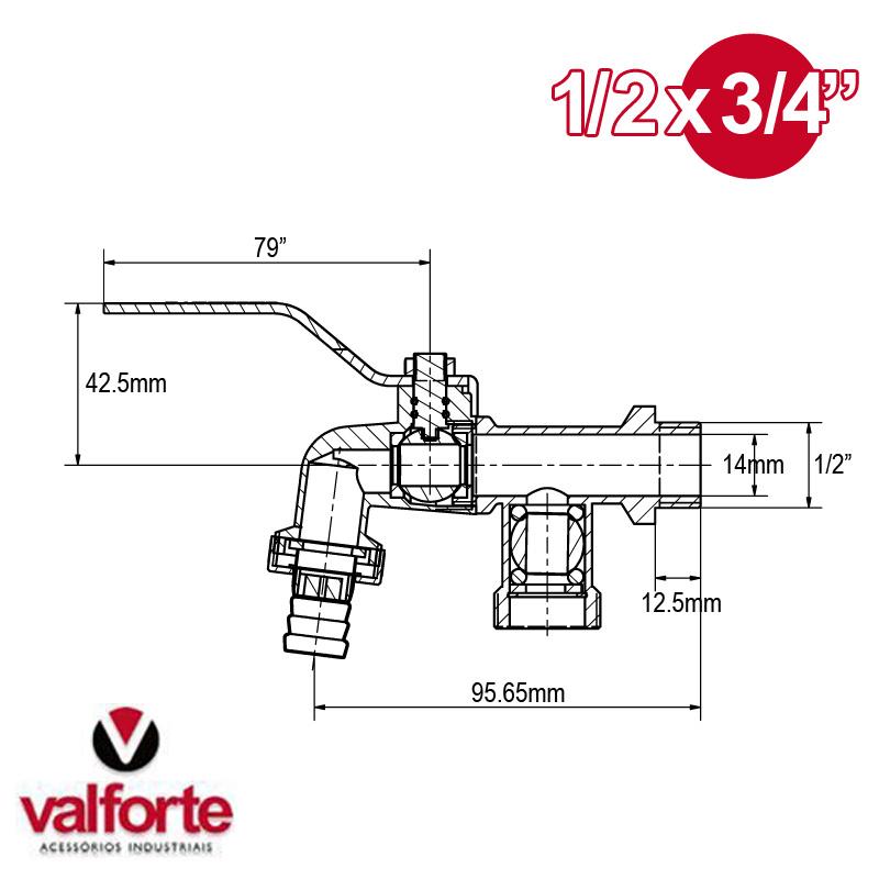 Canilla Esférica Riego Para Programador Valforte 1/2 X 3/4''