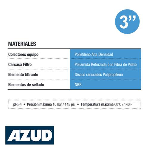 FILTRO PLÁSTICO 3 PULGADAS DE DISCOS AZUD HELIX 300 HIDROCICLON