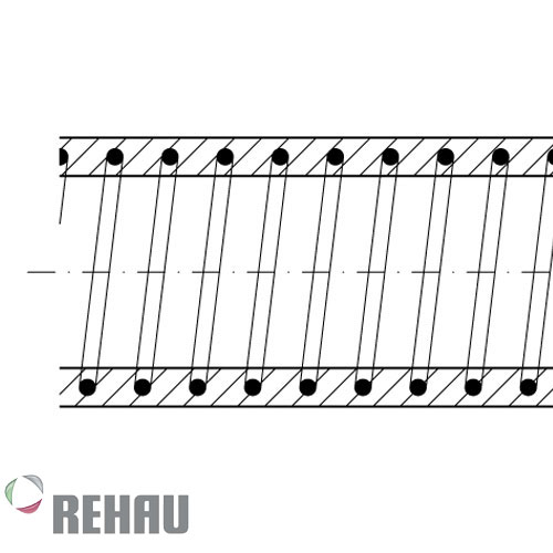 Rehau Rollo de manguera Rauspiraflex H2 Amarilla 63/5.5 x 20 mts
