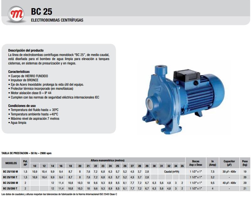 Motorarg Línea Bc 25 200t Bomba centrifuga horizontal