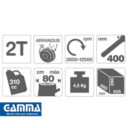 Motosierra Gamma 38cc 2 tiempos Hoja de 40 cm