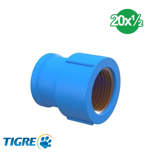CUPLA PVC SOLDABLE CON BUJE METAL 20mm x ½