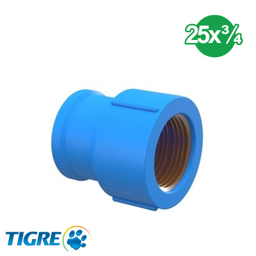 CUPLA PVC SOLDABLE CON BUJE METAL 25mm x ¾