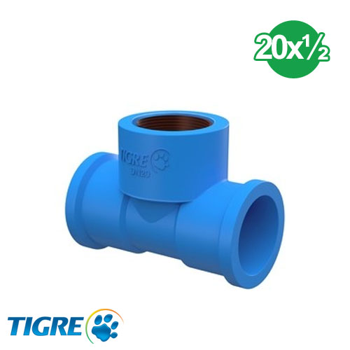 TEE PVC SOLDABLE CON BUJE METAL 20mm x ½