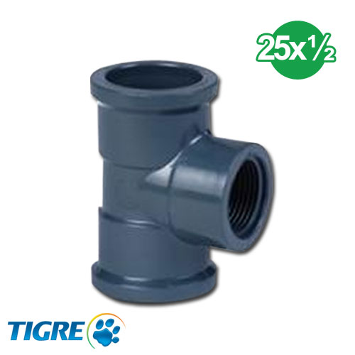 TEE 90º PVC SOLDABLE ROSCABLE 25mm x 1/2