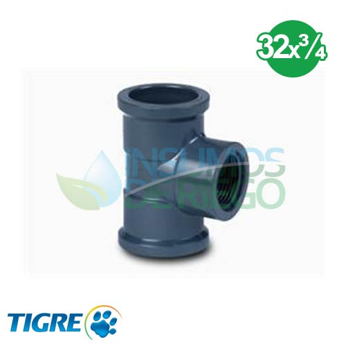 TEE 90º PVC SOLDABLE ROSCABLE 32mm x 3/4