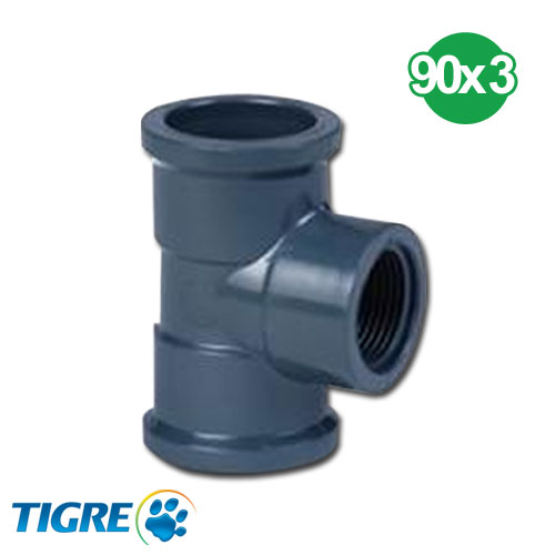 TEE 90º PVC SOLDABLE ROSCABLE 90mm x 3